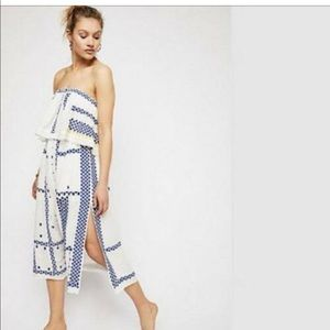 Free People embroidered strapless dress
